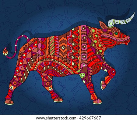 Illustration with abstract bull on a dark floral background