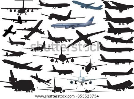 illustration with airplanes collection isolated on white background
