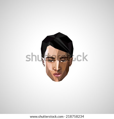 illustration with an asian guy face in polygonal style   - stock vector