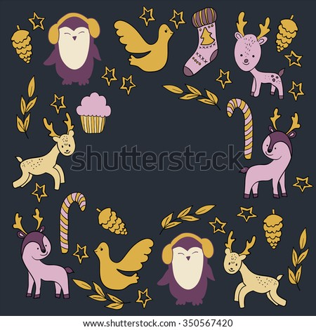 Illustration with animals and additional elements. Penguin, deer, star, sock, tree branch with leaves, headphones.