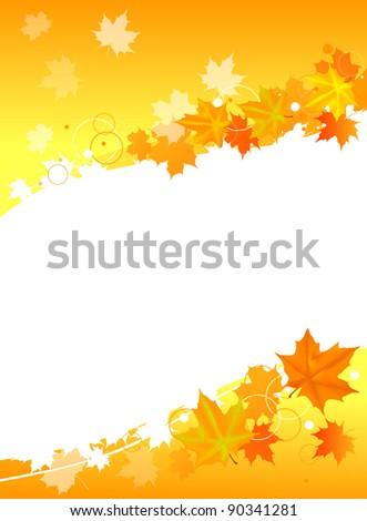 illustration with autumn maple foliage design isolated on white background - stock vector