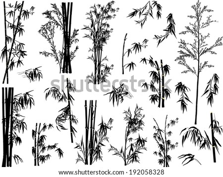 illustration with bamboo collection on white background - stock vector