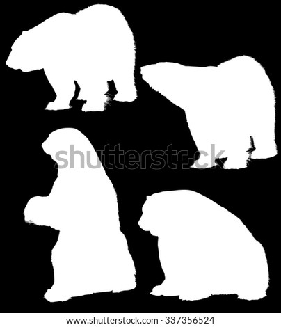 illustration with bear silhouettes isolated on black background