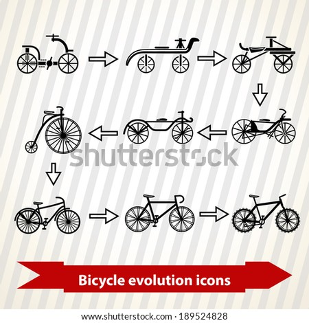 Illustration with bicycle evolution icons from oldest to modern - stock vector