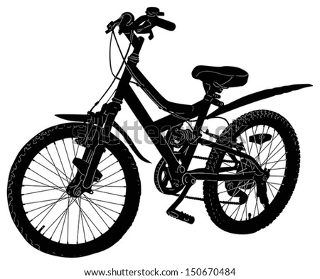 illustration with bicycle silhouette isolated on white background