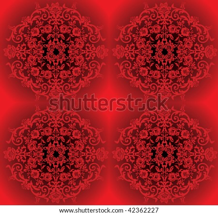 illustration with black and red floral design