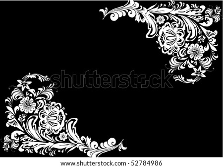 illustration with black and white flower decoration