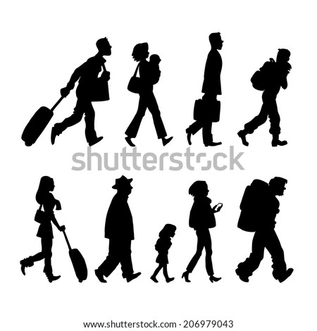 Illustration with black silhouette of passenger in the airport