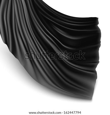 Illustration with black silk cloth. Black silk cloak - stock vector