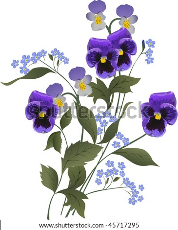 illustration with blue flower bouquet on white background
