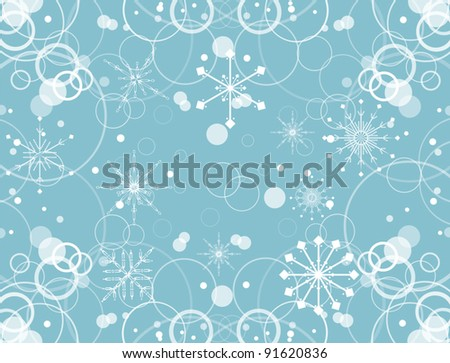 illustration with blue snowflakes background