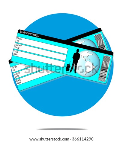 Illustration with boarding pass with blue circle background - stock vector