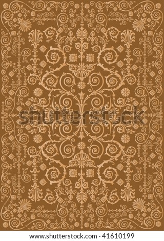 illustration with brown curled designed background