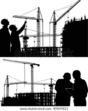 illustration with builders and crane silhouettes