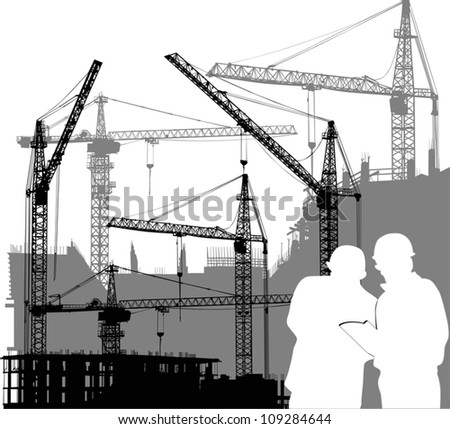 illustration with builders and cranes silhouettes