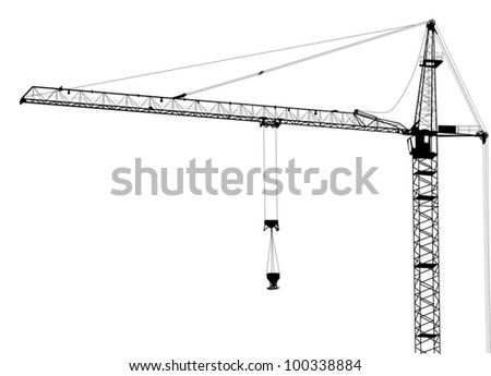 illustration with building crane isolated on white background