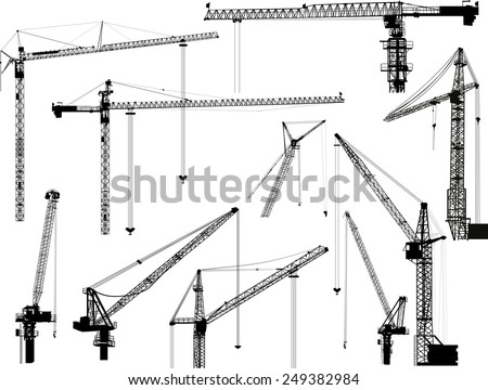 illustration with building cranes isolated on white background - stock vector