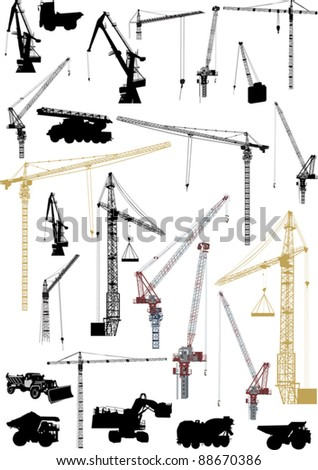 illustration with building machinery isolated on white background