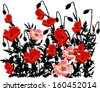 illustration with bunch of poppy flowers - stock