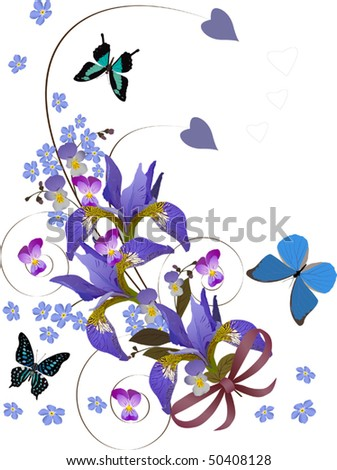 illustration with butterflies and flowers on white background