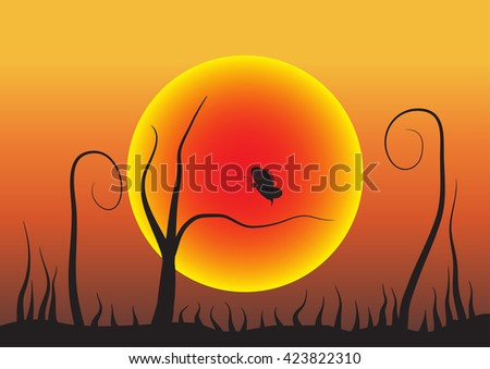 illustration with butterflies and grass at sunset - stock vector