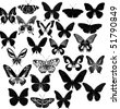 illustration with butterfly silhouettes collection isolated on white background - stock vector