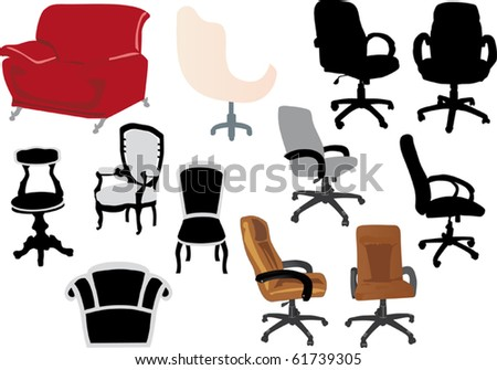 illustration with chairs isolated on white background - stock vector