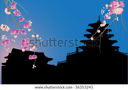 illustration with chinese city silhouette and cherry tree blossom