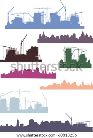 illustration with cities silhouettes isolated on white background - stock vector
