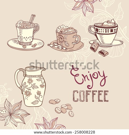 illustration with coffee cups - stock vector