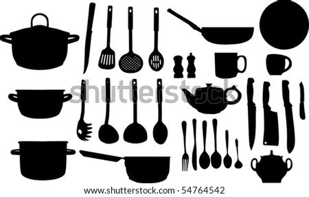 illustration with collection of ware isolated on white background - stock vector
