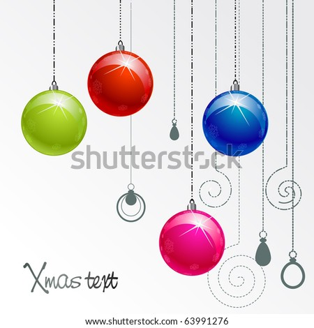 illustration with color Xmas balls