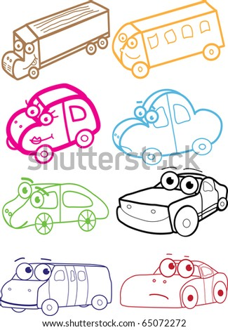 Illustration with colorful cartoon cars - stock vector