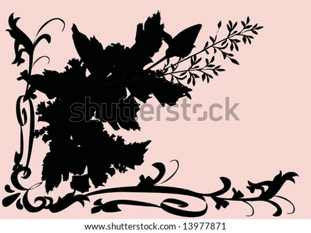 illustration with corner flower silhouette