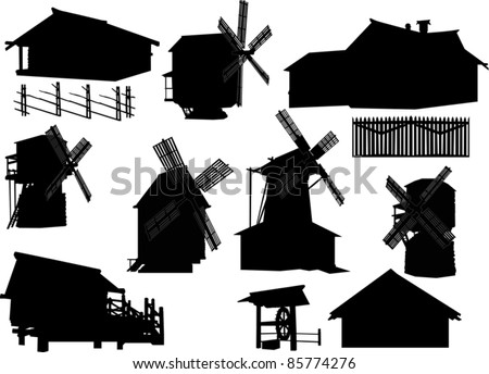 illustration with country buildings collection - stock vector