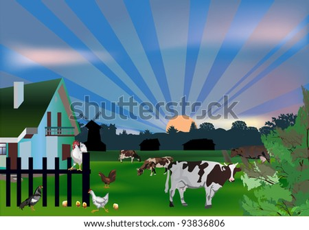 illustration with cows and birds near house - stock vector