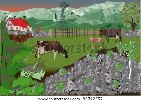 illustration with cows near cottage - stock vector