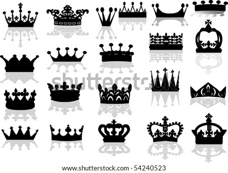 illustration with crown collection isolated on white background - stock vector