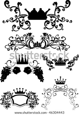 illustration with crowns and floral curls isolated on white background