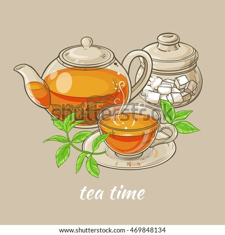 Illustration with cup of tea, teapot , sugar bowl and tea leaves on brown background