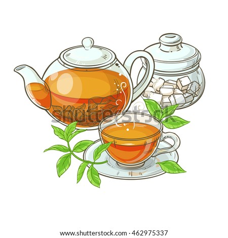 Illustration with cup of tea, teapot,  sugar bowl  and tea leaves on white background