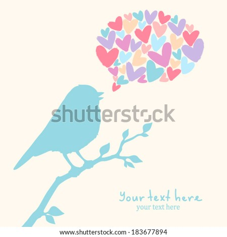 Illustration with cute bird - stock vector