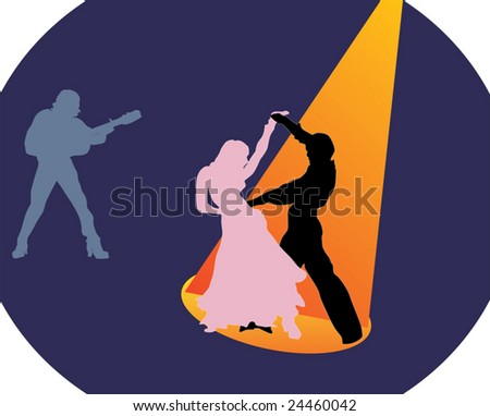 illustration with dancers couple and musician - stock vector