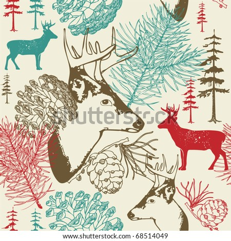 illustration with deers in winter landscape - stock vector