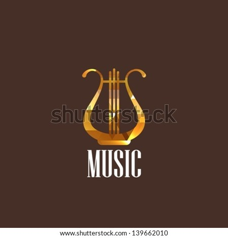 illustration with diamond lyre icon - stock vector