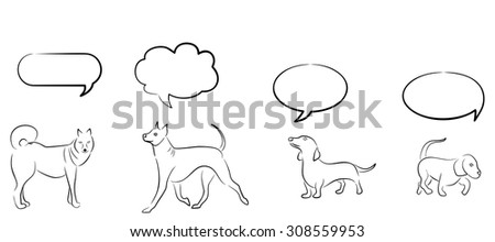 Illustration with different dogs and thought clouds over them.