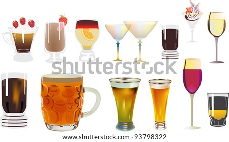 illustration with different drinks collection - stock vector