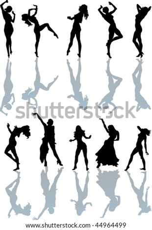 illustration with different girl silhouettes