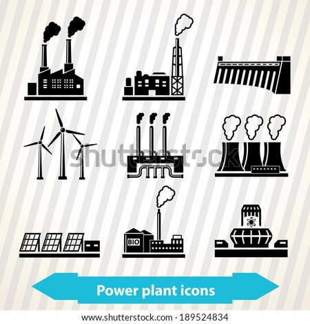 Illustration with different power plant icons in minimal style - stock vector