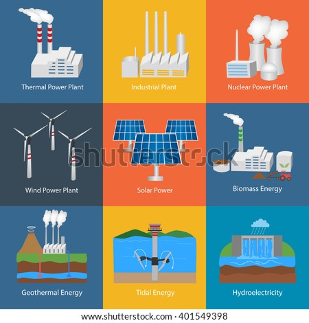 Illustration with different power plant icons:thermal, hydro, nuclear, diesel, solar, eco, wind, geothermal, tidal. Conception of making energy and pollution of the environment.Set of Power plants  - stock vector